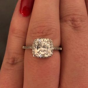 Sterling Silver CZ Engagement Ring